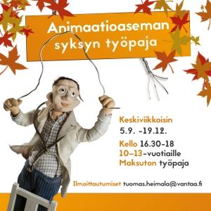 Animaatioaseman maksuton syksyn työpaja 10-13-vuotiaille @ Animaatioasema | Vantaa | Suomi
