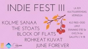 Velmu: Indie Fest III @ Vernissasali | Vantaa | Suomi