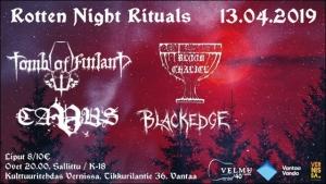 Velmuklubi: Rotten Night Rituals: Tomb of Finland, Blood Chalice, Cavus +1 @ Vernissasali | Vantaa | Finland