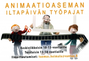 Animaatioaseman maksuton työpaja 10-13-vuotiaille @ Animaatiostudio | Vantaa | Finland