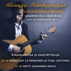 Koivu ja Tähtikirjailijat: Matti Johannes Koivu & Kirjailijat Tuija Lehtinen, JP Koskinen @ Vernissasali | Vantaa | Finland