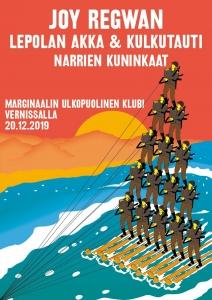 Marginaalin Ulkopuolinen Klubi: Joy Regwan, Lepolan Akka & kulkutauti, Narrien kuninkaat @ Vernissasali | Vantaa | Finland