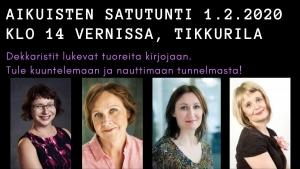 Aikuisten satutunti: Dekkaristit Vernissassa @ Kulttuuritehdas Vernissa | Vantaa | Finland