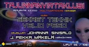 Tajunnanvirtaklubi: Sekret Teknik, Veijo Peso, Johanna Sinisalo, J. Pekka Mäkelä @ Vernissasali | Vantaa | Finland