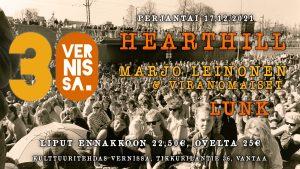 Vernissa 30v: Hearthill, Marjo Leinonen & Viranomaiset ja LUNK @ Vernissasali   Vantaa   Suomi